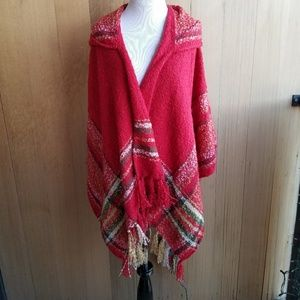 Sweaters - Soft Knit Boutique Plaid Tassle Hooded Shawl Wrap